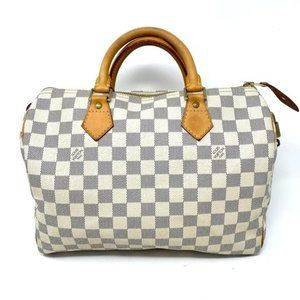 Auth Louis Vuitton Speedy 30 Damier Azur Hand Bag